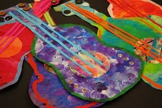 Guitars...great mixed media. First graders rocked this project last year, only we made sure we had six strings.