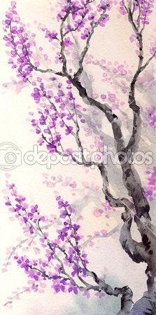 Aquarell Frühlings-Hintergrund. Lila Blüten auf Äste — Stockbild #40146077