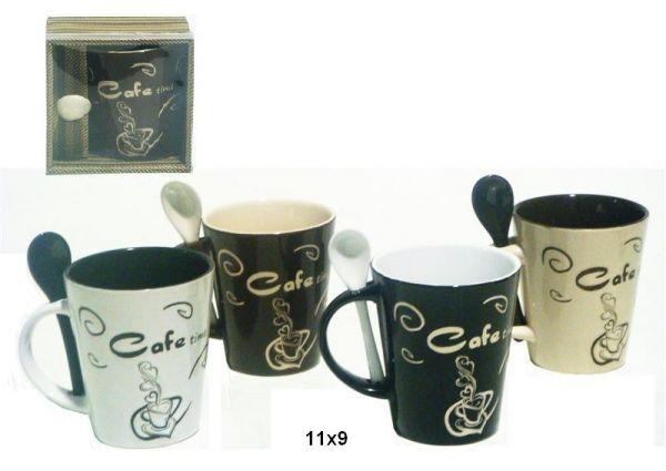 Taza con Cuchara Cafe Time - Taza de ceramica cafe time, con cucharita, surtidos…