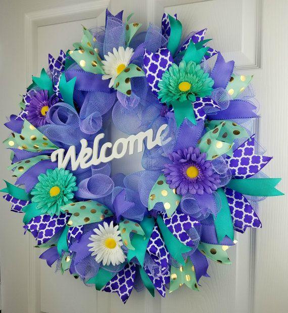 Spring Deco Mesh Wreath Welome Wreath by WreathsandmorebyJenn