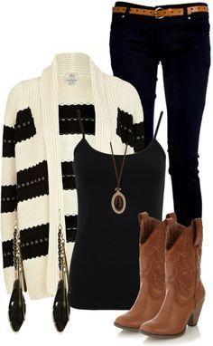 Thời trang mùa đông – áo cardigan sọc trắng đen và cowgirl bốt