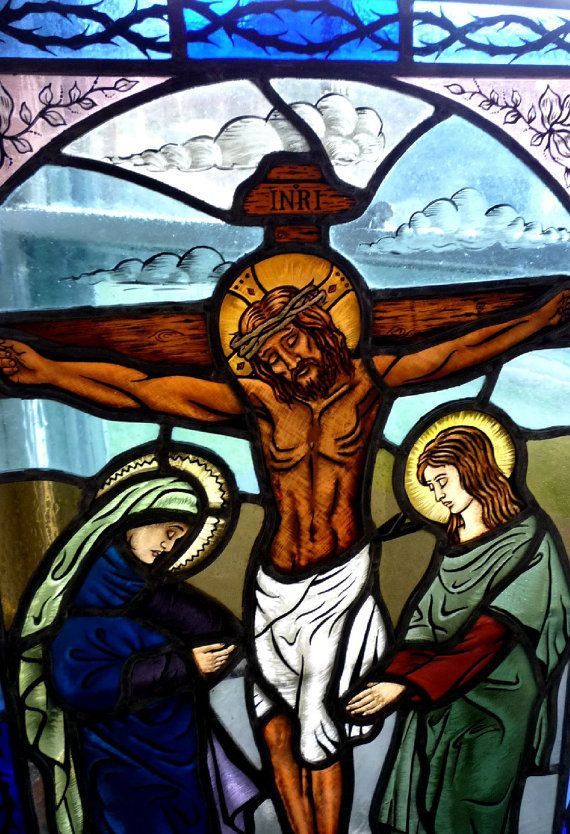 Jesus Crucifixion Religious Stained Glass Window