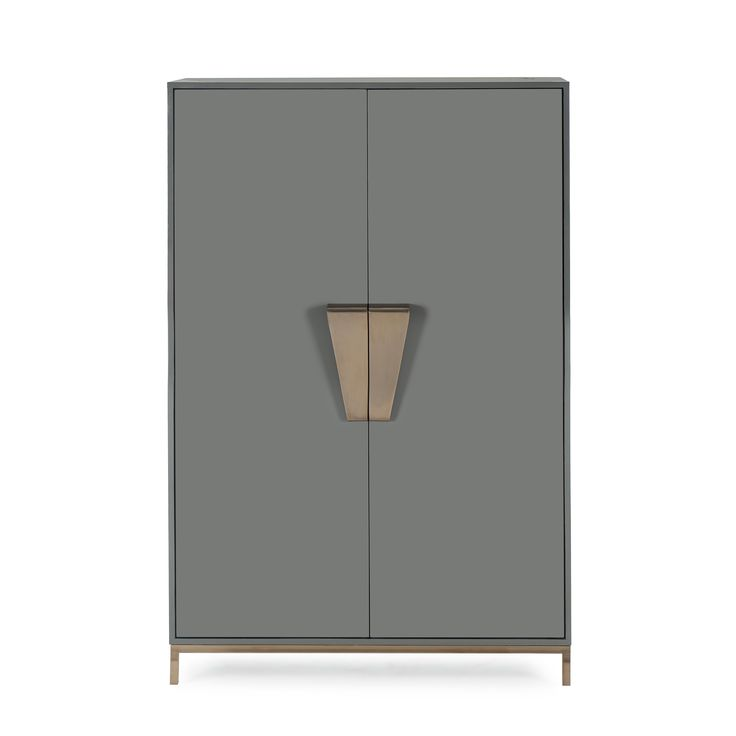 Tall and impressive, our Shield Cabinet features a glamorous, boxy shape, with stunning, gold knobs and straight, gold legs.