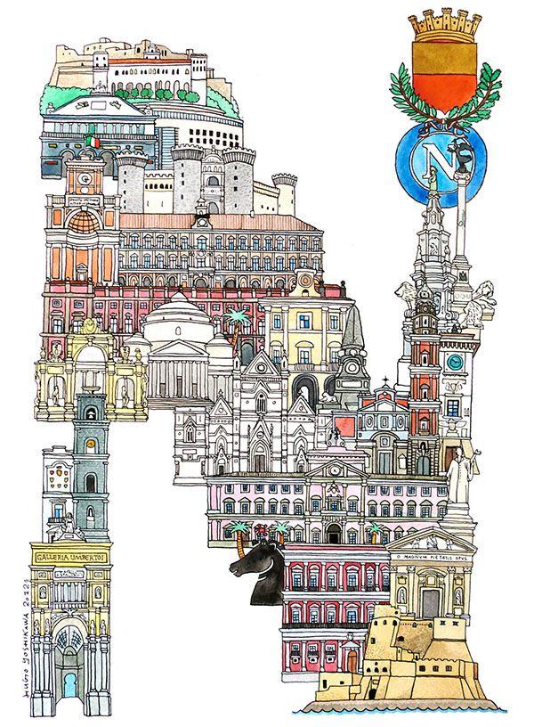Naples - ABC illustration series of European cities by Japanese illustrator Hugo Yoshikawa
