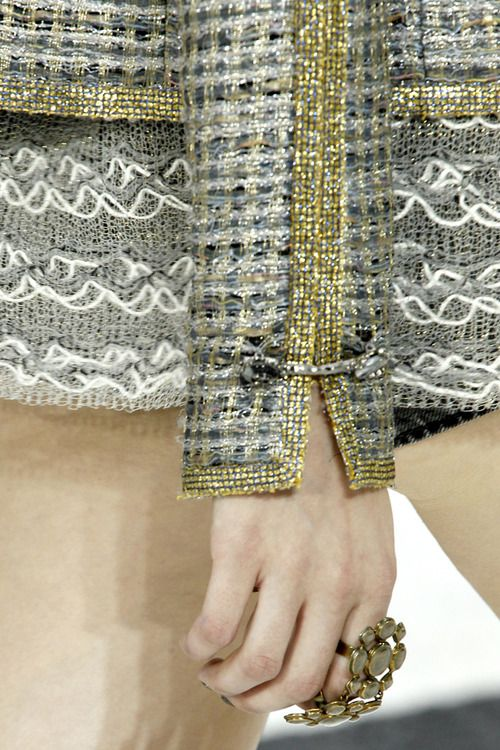 Chanel details make the design. Awesome closeup look at the fabric. I especially like the cuff toggle. Clever!