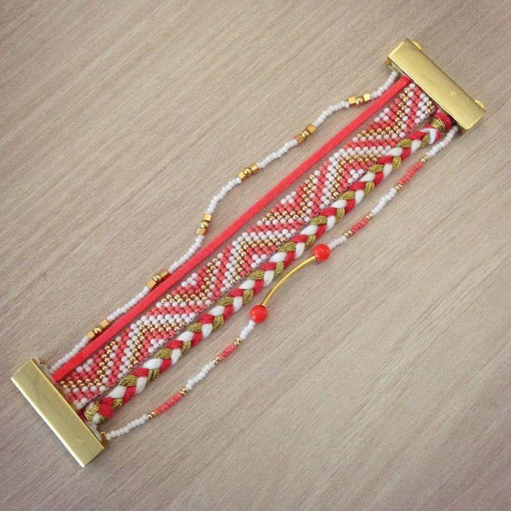 Manchette brésilienne DIY. Bracelet DIY. Corail #bracelet #DIY #bijou #manchette #Perles