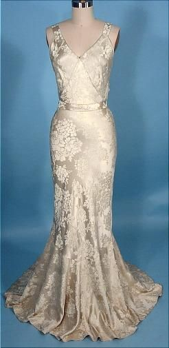 1933-1935 Wedding Gown with Matching Jacket of Ivory Silk Brocade, With Provenance and Original Bouquet Holder (front w/o jacket)