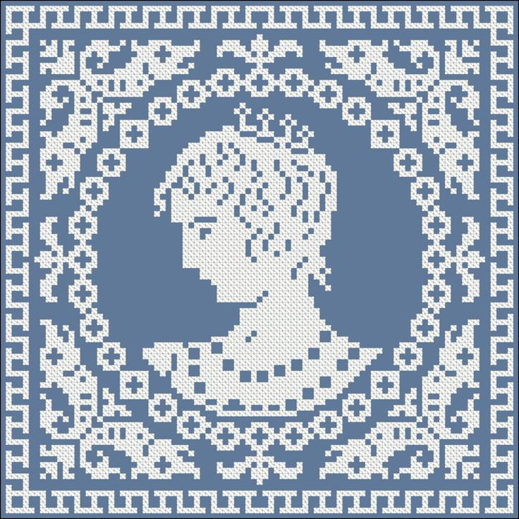Protrait of a lady | Chart for cross stitch or filet crochet.