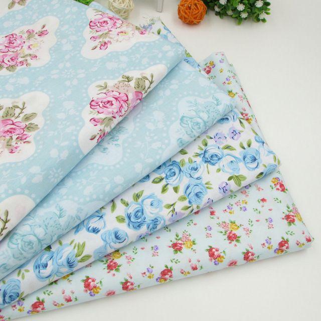 4 unids/lote 40 cm * 50 cm luz azul Floral algodón tela del remiendo de costura Tissus Telas quilting Patchwork Tilda muñeca de trapo