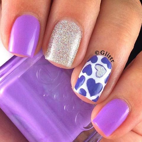 Girly Pink and Purple Heart Nail Design