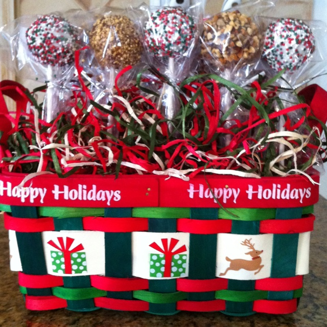 cake pops displayed in festive basket for a charity boutuque bake sale