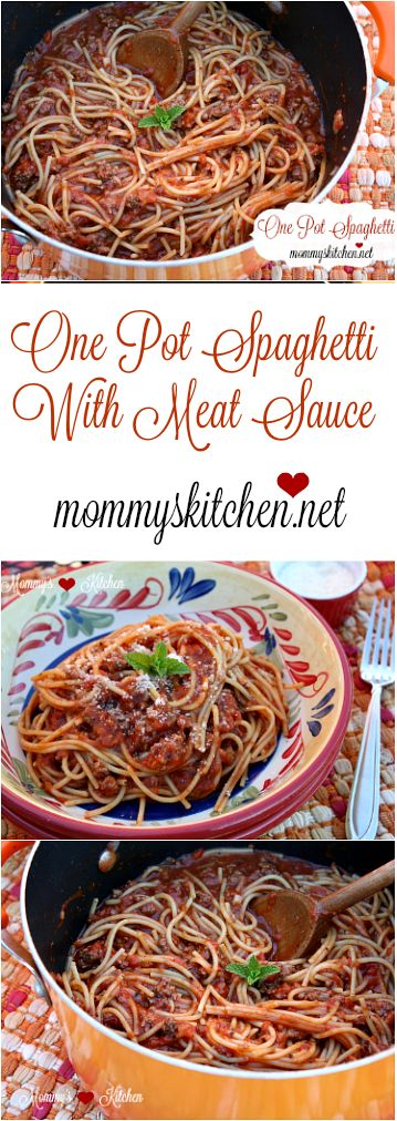 Spaghetti and meat sauce cooked together all in one pot. If you're looking for an easy recipe to get dinner on the table in 30 minutes this is the recipe for you. Trust me it's too easy not to try, and clean up is a snap.#onepot #spaghetti #mommyskitchen #pasta #dinner