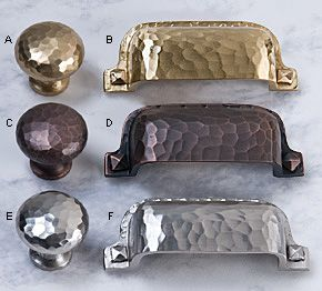 Hammered Knobs & Pulls - Hardware, i used the satin nickel rubbed on a side board I converted into an entertainment stand for my living room. Love these cup pulls and knobs <3
