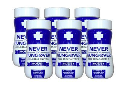 Product review for Never Too Hungover Boost - Hangover Recovery or Prevention Drink -  The NEVER TOO HUNGOVER BOOSTTM 6-Pack comes with six 3.4oz bottles and a display case! NEVER TOO HUNGOVER BOOSTTM is the best tasting and most effective way to help prevent or recover from hangovers. It is low calorie, sugar free, gluten free, contains caffeine and double B-12! WHAT'S IN... -  http://www.bestselleroutlet.net/product-review-for-never-too-hungover-boost-hangover-recove