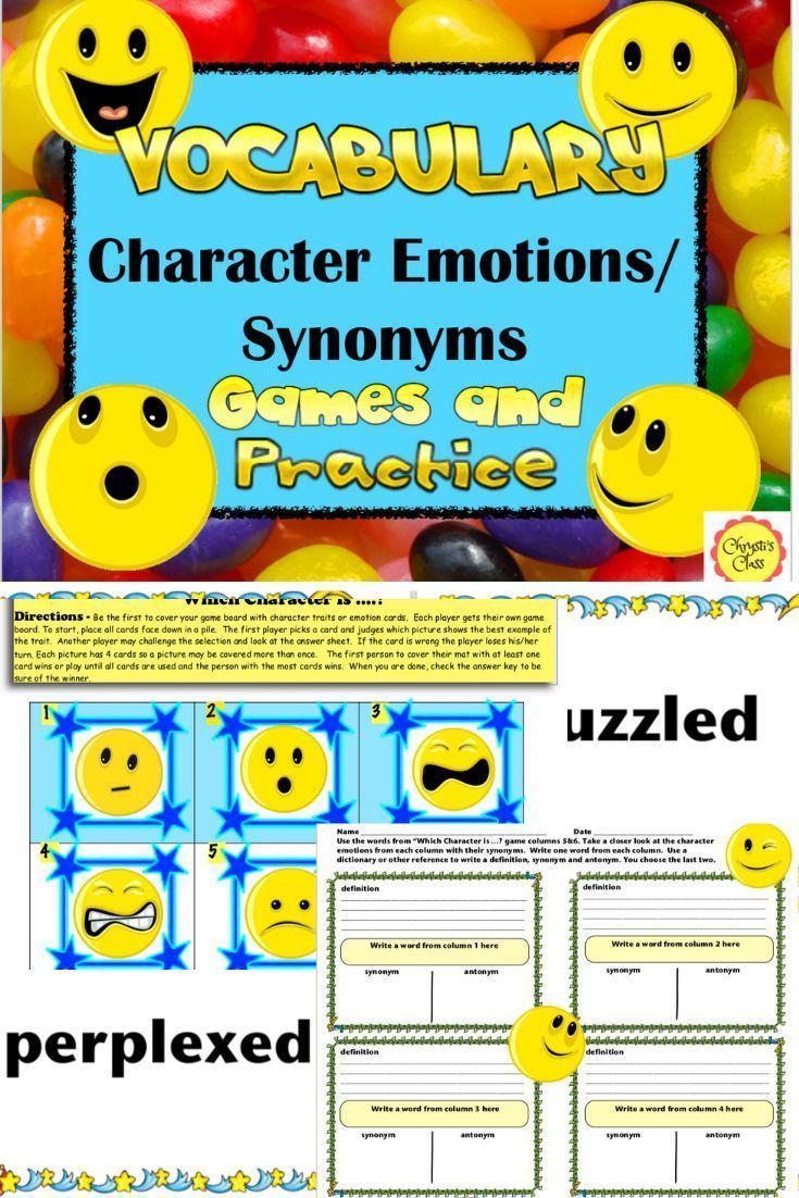 Vocabulary Character Emotion Synonym Games And Practice Vocabulary Emotion Words School Skill