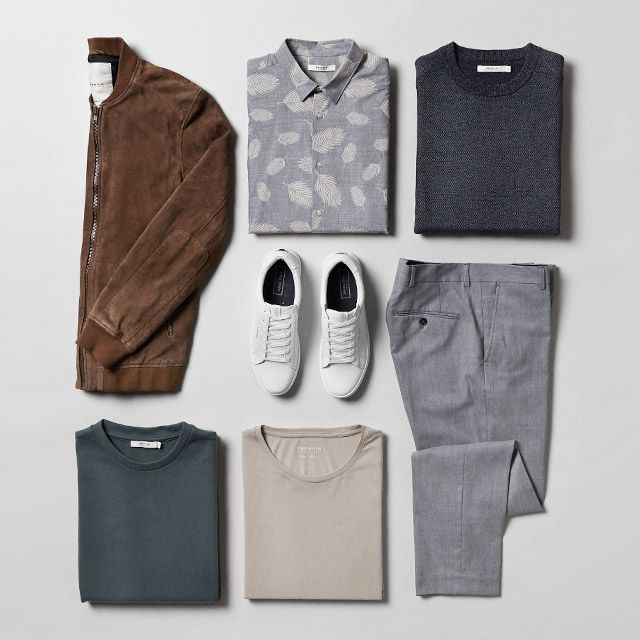 New spring colours - style inspiration from PREMIUM by JACK & JONES Smart casual style, suede jacket, white trainers, grey trousers, grey feather shirt, tee. #ootd #outfit #style #menswear