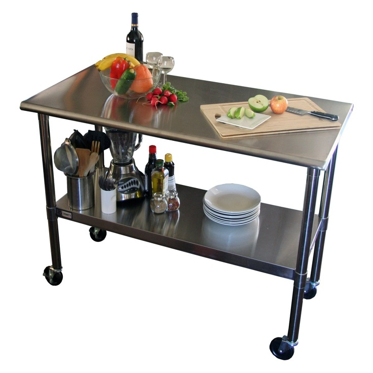 TRINITY EcoStorage™ 48 in. NSF Stainless Steel Prep Table with Wheels - something like this could be a quick counter replacement
