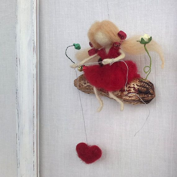 Felt Fairy on swing mobile Waldorf felt doll Needle felt girl Red heart Teenager gift Housewarming Spring decoration Love gift Wool fairy