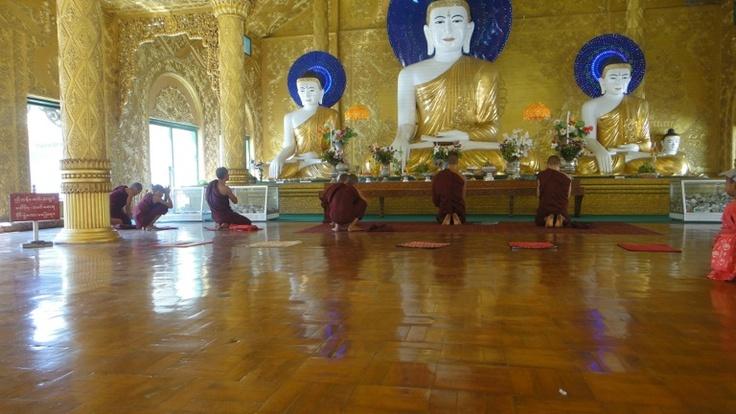 Monks at pray, Pathein,Myanmar
