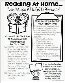 Reading at home information for parents