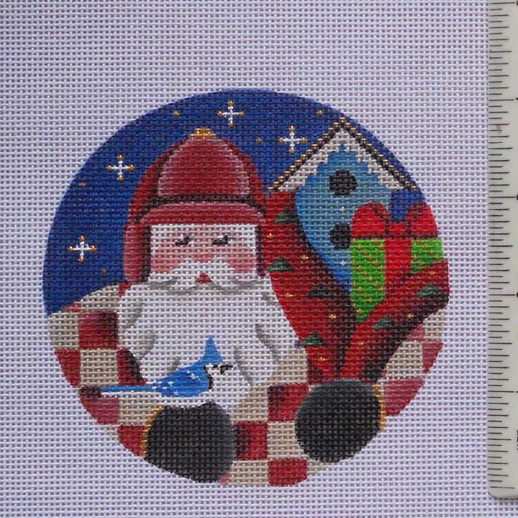Handpainted Needlepoint Canvas BIrdwatching Santa Ornament Rebecca Wood birding | eBay