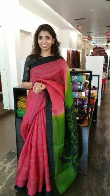 Light gauzy organza saree with block print on the body and applique work on the pallu.