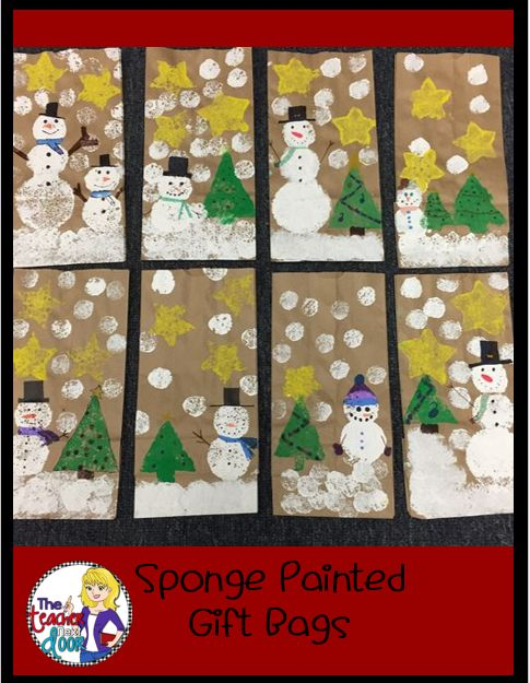 Sponge Painted Holiday Gift Bags- for parent gift to take home!