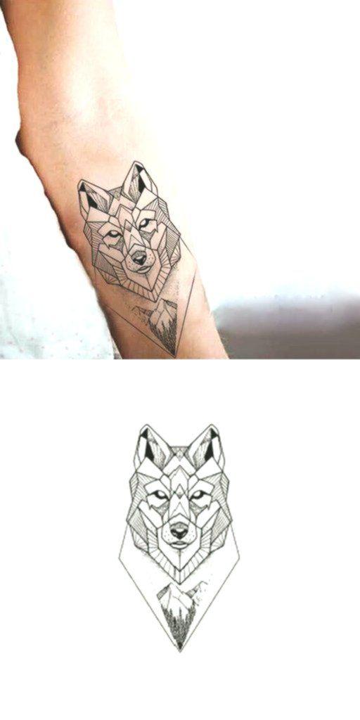 Geometrische Wolf-Handgelenk-Tätowierungs-Ideen für Frauen – coole einzigart…