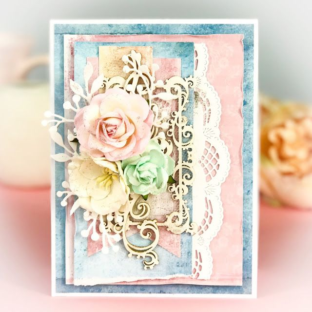 Very elegant and soft handmade wedding card. Made with Studio Light papers and Wild Orchid Crafts flowers. Cardmaking, scrapbooking
