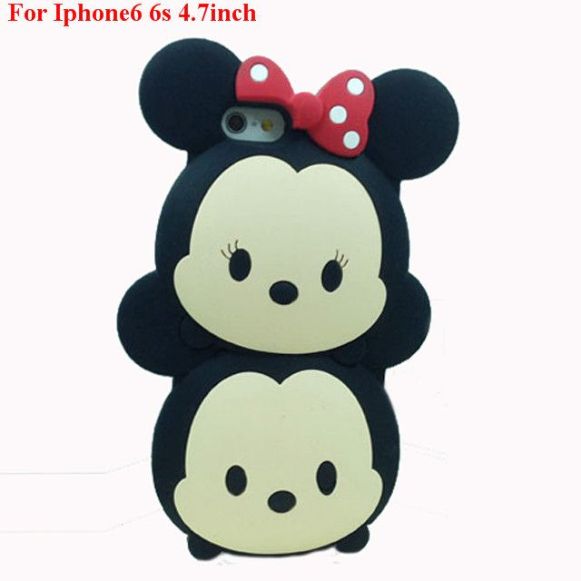 3D cartoon panda baymax strawberry bear rabbit kitty garfield cat totoro mermaid snowman soft rubber case For Iphone6 6s 4.7inch