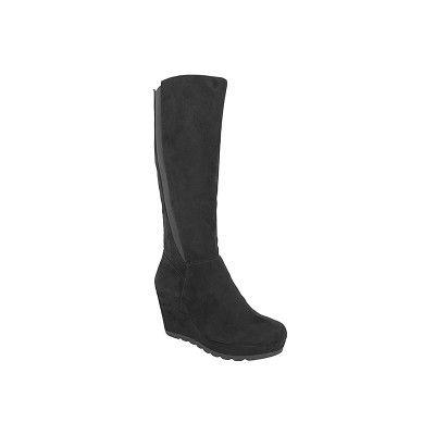 S.OLIVER 5-25527-27 - Γυναικείες Μπότες με τακούνι πλατφόρμα σε μαύρο καστόρι