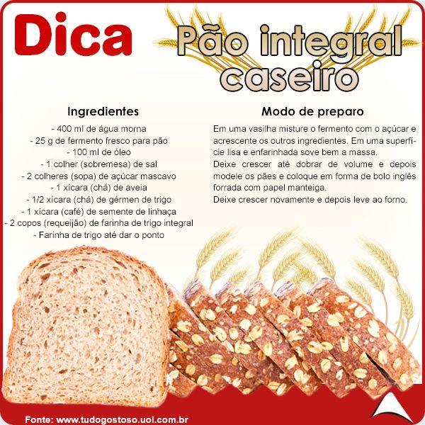 CONFIRA ESSA ÓTIMA RECEITA PRA VOCÊ QUE ADORA PÃO E ESTÁ DE DIETA !!! AFINAL, CUIDAR DO CORPO É MUITO IMPORTANTE !! #receita #pãointegral #fitness #pão #integral