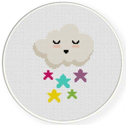 Raining Stars Cross Stitch Illustration