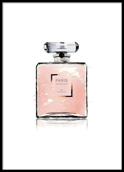 Mooie poster met Chanel parfumfles geverfd in aquarel. Past perfect bij onze andere posters en prints met Chanel met lippenstift en nagellak of met onze andere fashion prints en posters met Prada, Vogue enz. www.desenio.nl