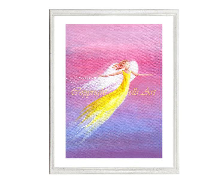 Hope Angel Art Print, Part of the Angels Rising Series, by Julia Underwood and Jewells Art, available from my ETSY shop, http://etsy.me/2oLaq9U #art #prints #orange #purple #OriginalArt #FengShuiArt #SpiritualArt #Angels #etsy shop