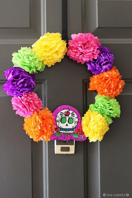 Como hacer una corona para la puerta inspirada en el Día de los Muertos | Live Colorful