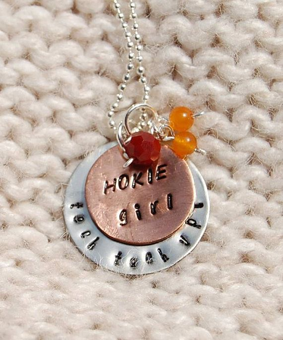 Virginia Tech Hokie Girl  two layer hand stamped pendant