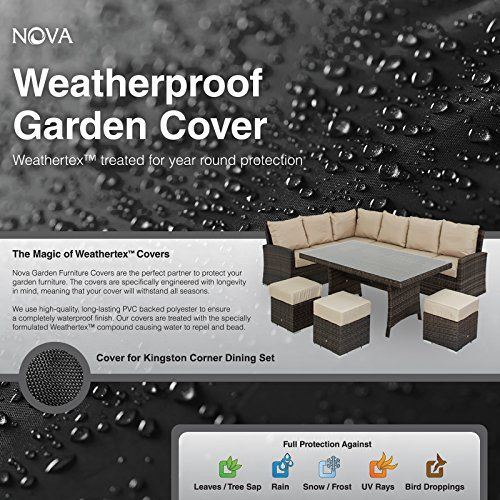 Nova PVC Backed Polyester Waterproof Fitted Outdoor Rattan Garden Furniture Cover for Corner Dining Set