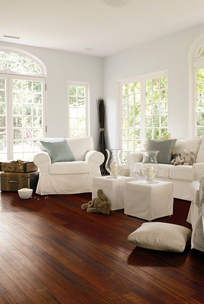 Brazilian Cherry Floors contrast with white furniture65 best Hardwood floor inspiration images on Pinterest   Flooring  . Hardwood Flooring Ideas Living Room. Home Design Ideas