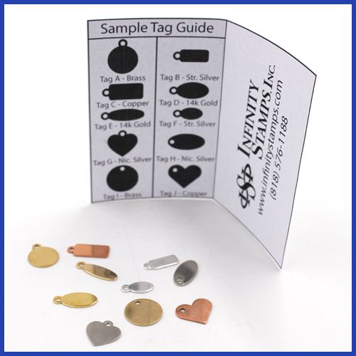 Our Jewelry Metal Tags are perfect to feature your stamped logo. If you want to see the tags before you decide on the tag size, shape and style, our sample pack will make your choice easy. Hold our ta