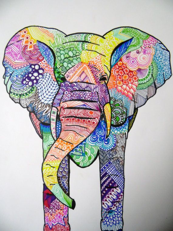 Unique E L E P H A N T Original Art Print 8x10 VIBRANT Color - Sharpie Art - Zentangle Elephant