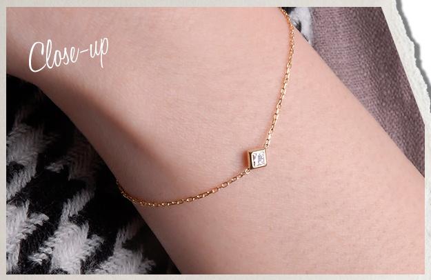 K18WG×ダイヤモンド「カレ」ブレスレット  17,850