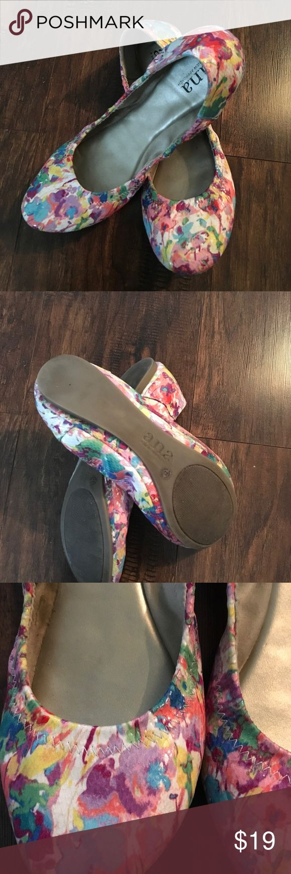 ANA size 9 floral ballet flats Patent floral ballet flats in beautiful pastel colors. Worn once to an indoor church function. Excellent like new condition. a.n.a Shoes Flats & Loafers