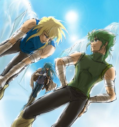 Camus, Hyoga And Isaac. The Good Times.