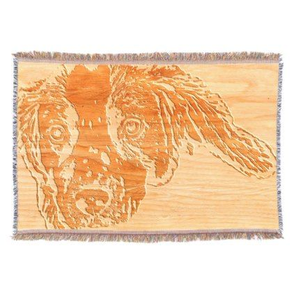 Wood Engraving Effect Spaniel Puppy Throw - dog puppy dogs doggy pup hound love pet best friend