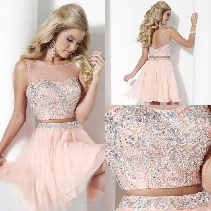 Stunning Two Pieces Homecoming Dresses Sexy A Line Sheer Crew Backless Beaded Crystals Ruffles Short 2015 Cheap Cocktail Gowns