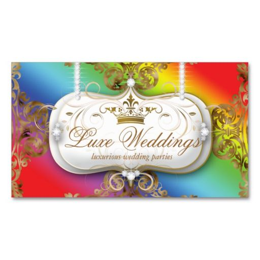 Fashion Jewelry Wedding Elegant Crown Rainbow Business Card Templates 4 $29.95 -- click for sales!!!