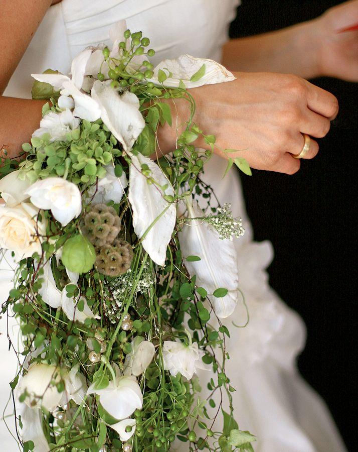 - Brautstrauß Inspirationen Weiß Grün ausgefallen