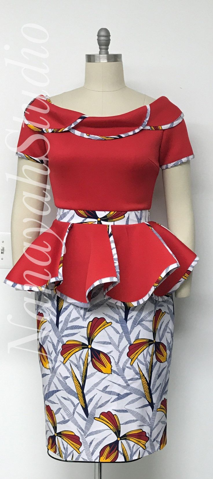 AYALUX 2019 Collection. African Print Scuba Neoprene Two Piece Petal Peplum Top. Pencil Skirt. Handmade. Red Navy Yellow White