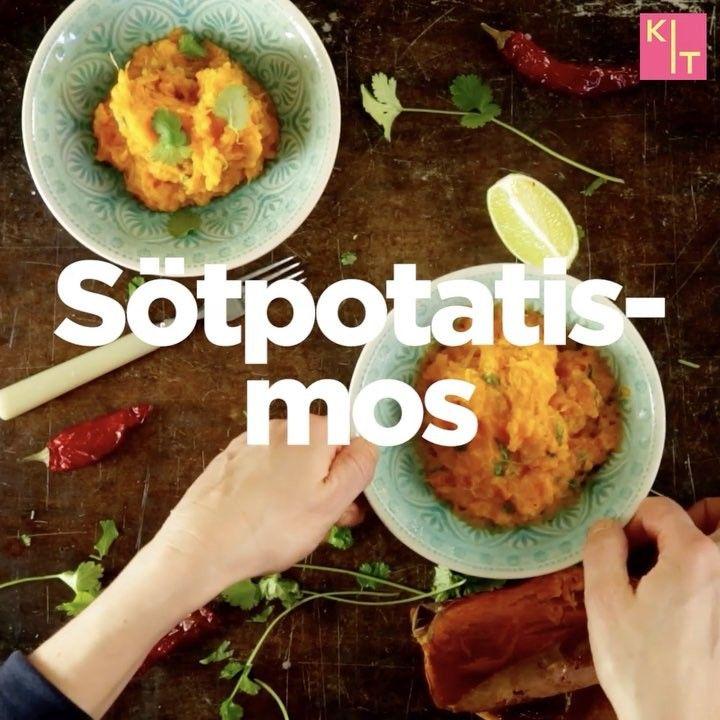 Potatismos recept: 800g sötpotatis⠀ 2 msk kokosmjölk⠀ 2 tsk chiliflakes/1 hackad färsk chili  1 st lime, saft och skal  Salt⠀ Peppar⠀ 1 knippe grovhackad koriander ••• Stick hål på potatis med gaffel, baka 200° ca 40. gröp ur den från skal ner i skål. Mosa med mjölk och chili. Riv i lime skal och pressa saft + S&P. Vänd ner koriander. Servera mos till kryddheta grönsaksbiffar, kyckling, revbenspjäll eller fläskfilé.